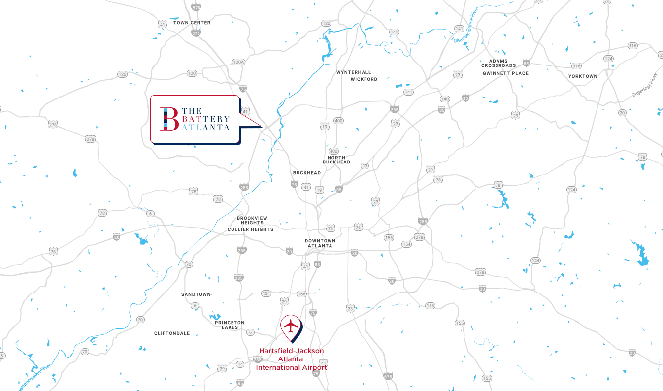 Map of Battery Atlanta proximity to Airport